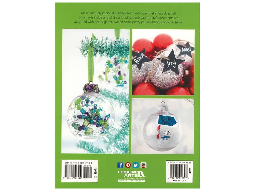 Leisure Arts Craft Holiday Ornaments Book