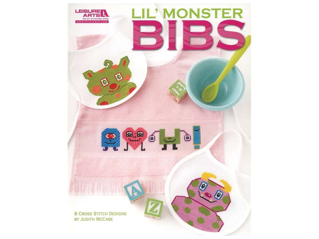 Leisure Arts Lil' Monster Bibs Cross Stitch Book