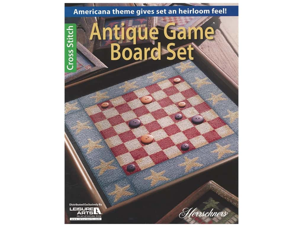 Leisure Arts Antique Game Board Set Cross Stitch Book
