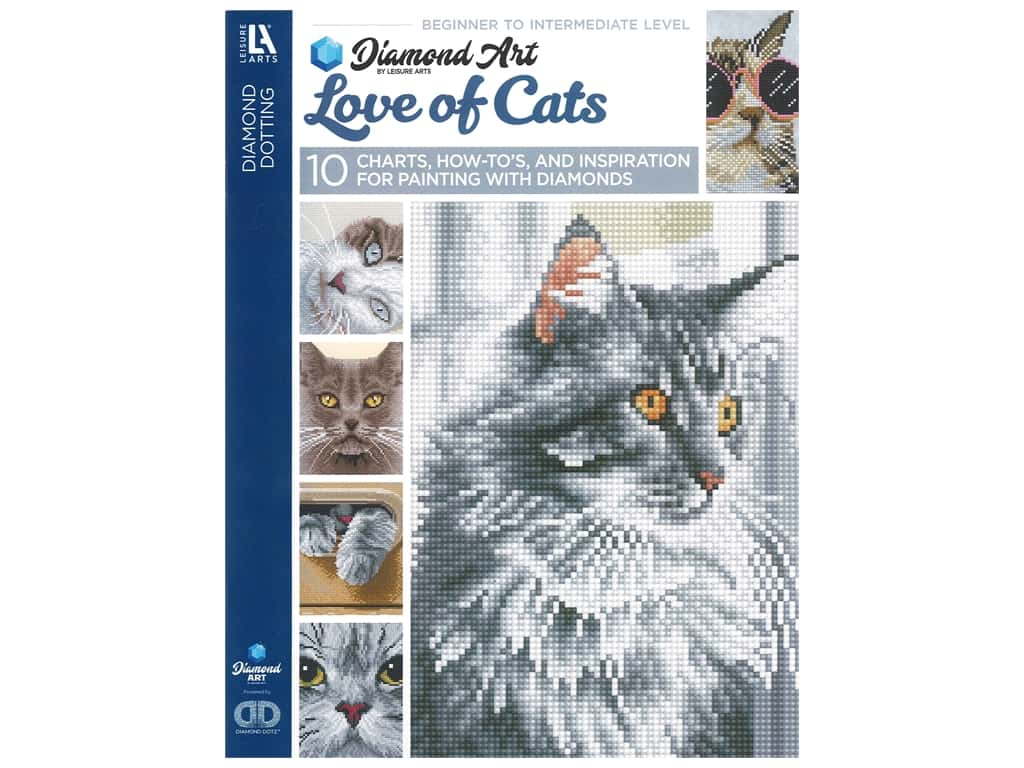 Diamond Art By Leisure Arts Freestyle Diamond Dotting Love of Cats Painting Charts & Idea Book