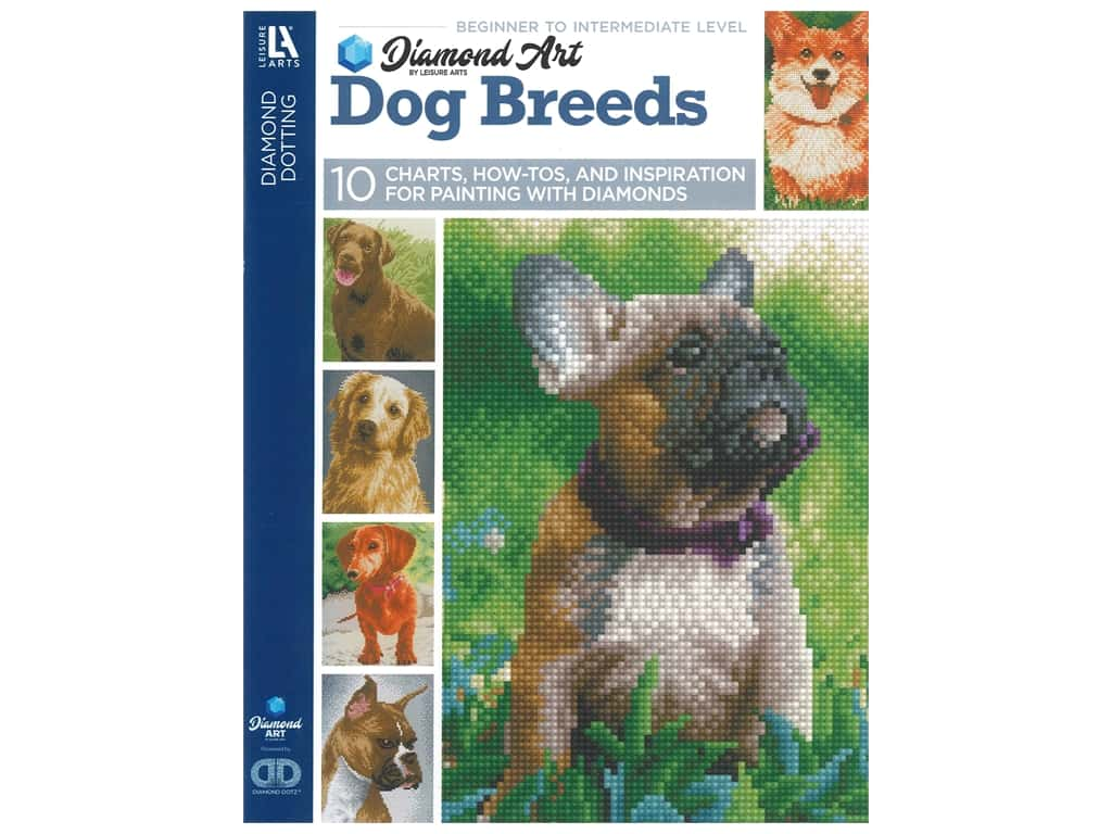 Diamond Art By Leisure Arts Freestyle Diamond Dotting Dog Breeds Painting Charts & Idea Book