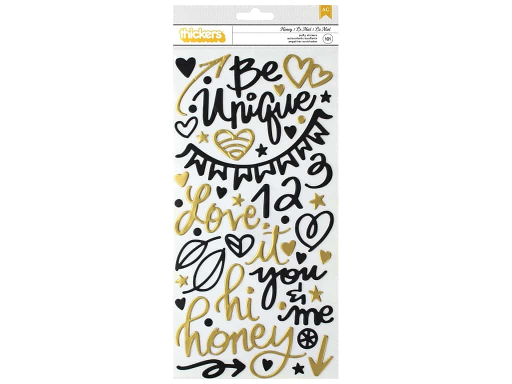 American Crafts Collection Vicki Boutin Wildflower & Honey Thickers Sticker Phrase Gold Foil
