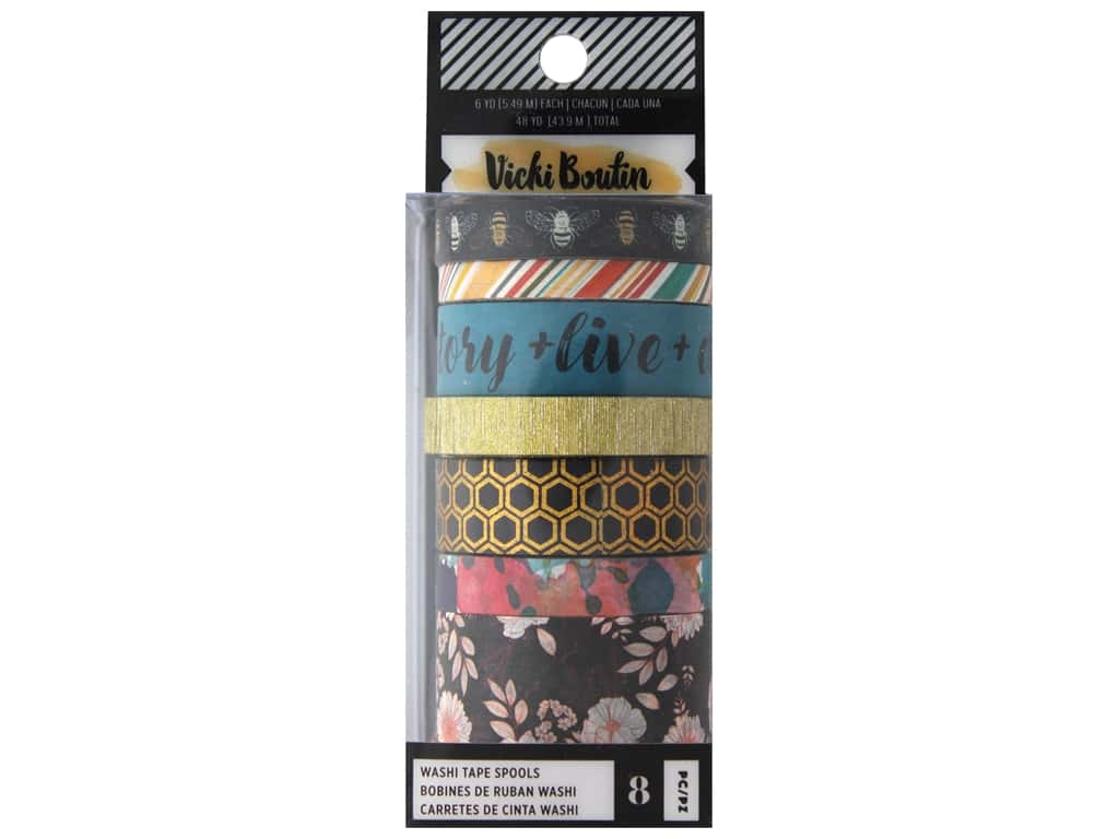 American Crafts Collection Vicki Boutin Wildflower & Honey Washi Tape Set Gold Foil