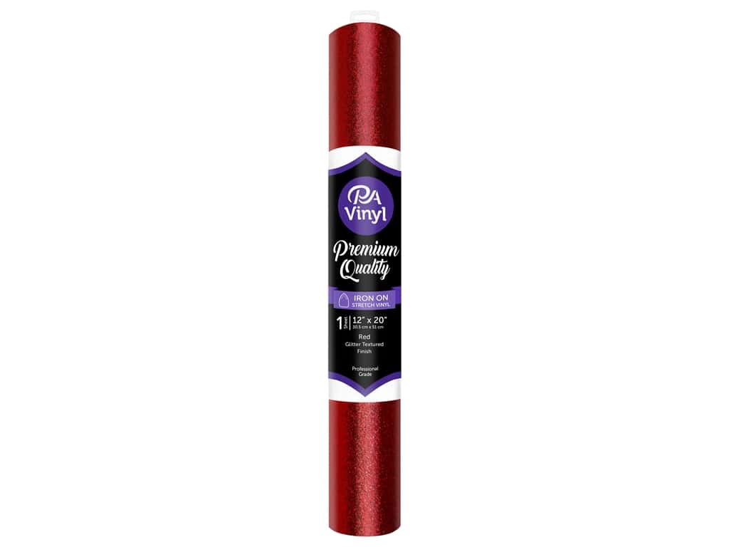 PA Iron-On Stretch Vinyl 12 x 20 in. Glitter Texture Red