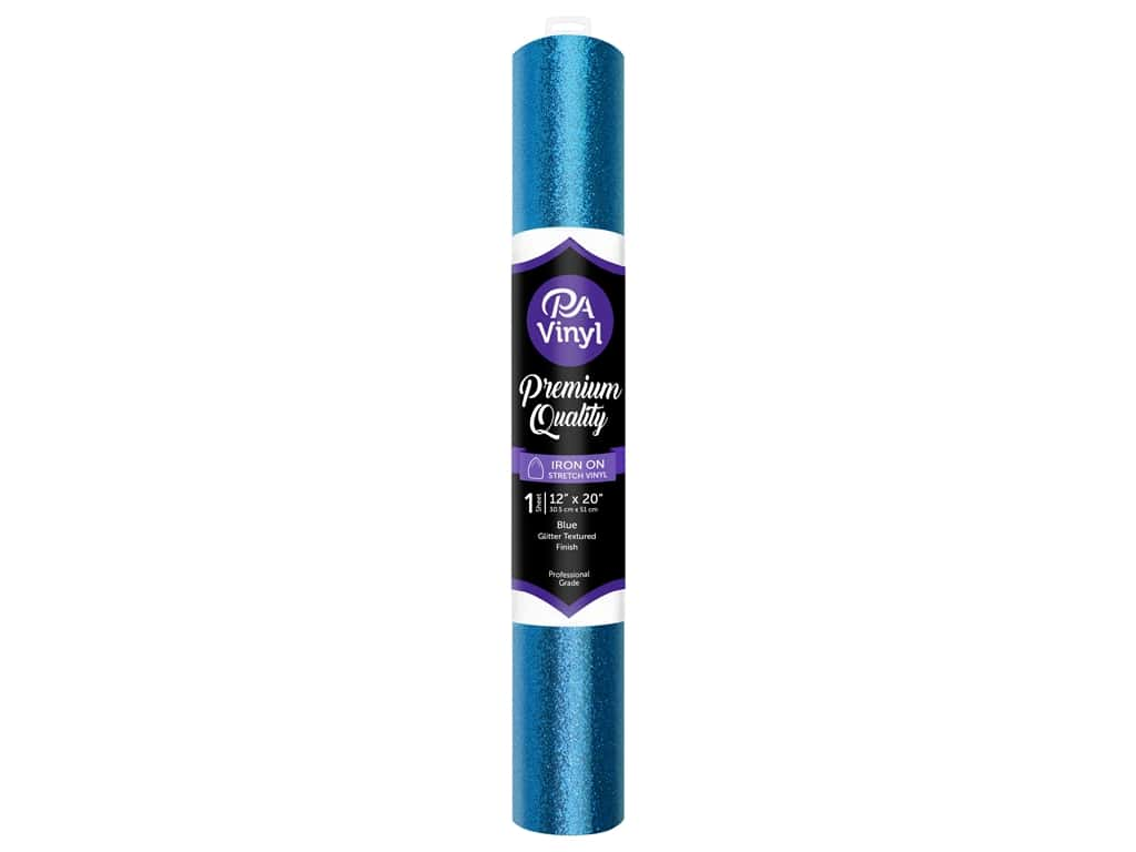 PA Iron-On Stretch Vinyl 12 x 20 in. Glitter Texture Blue