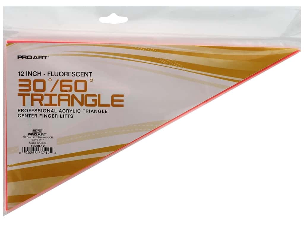 Pro Art Drafting Triangle With Finger Lift 12 in. .080 Fluorescent