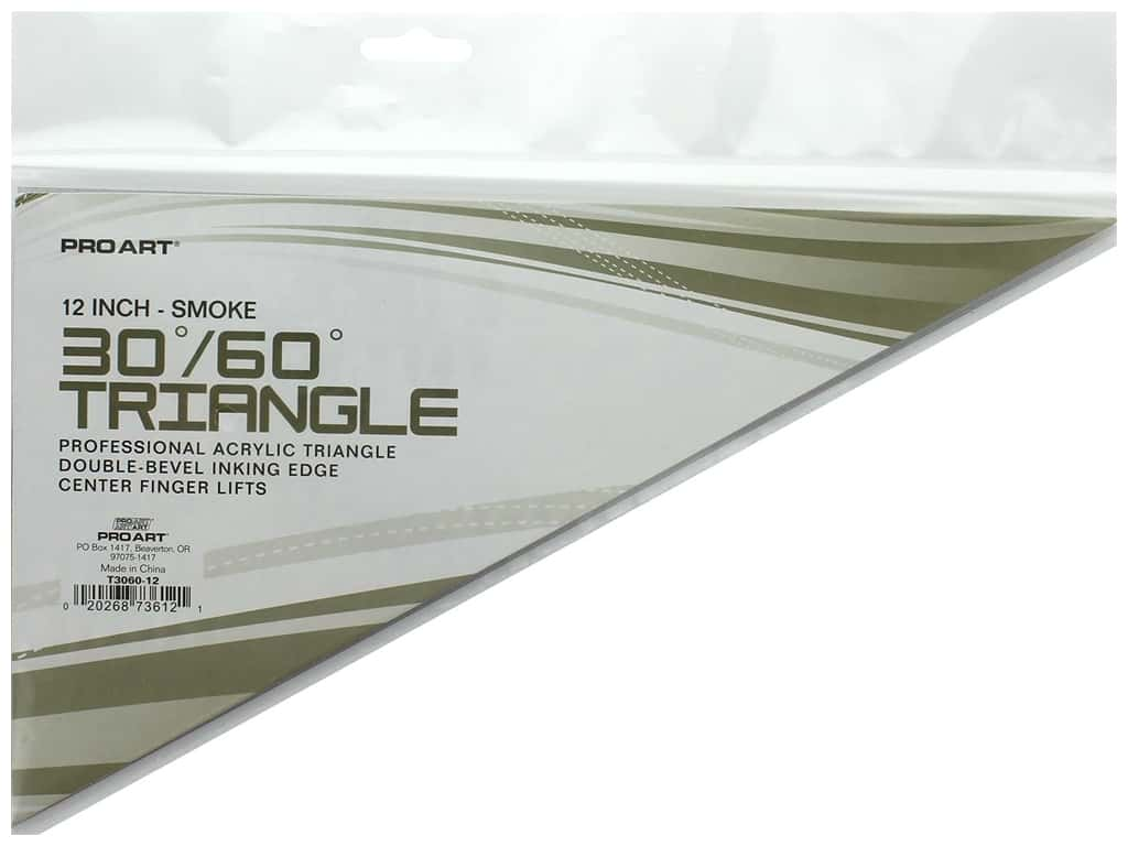 Pro Art Drafting Triangle With Ink Edge & Finger Lift 12 in. Smoke
