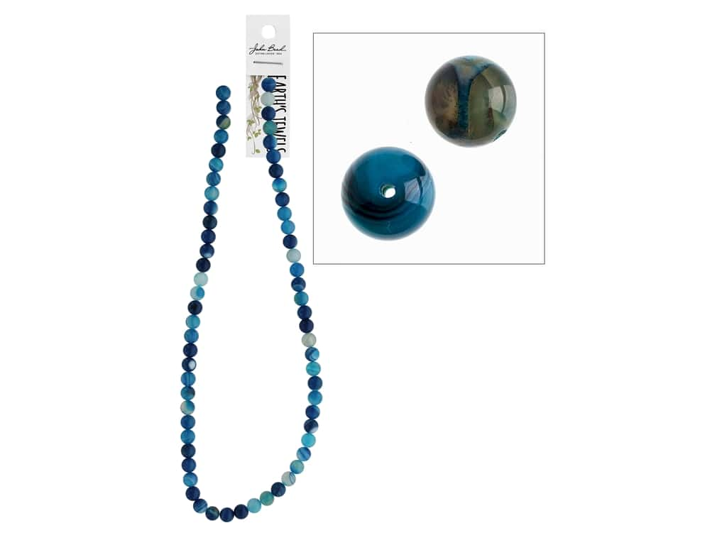 John Bead Semi Precious Bead 16 in. Agate 6 mm Round Dyed Blue