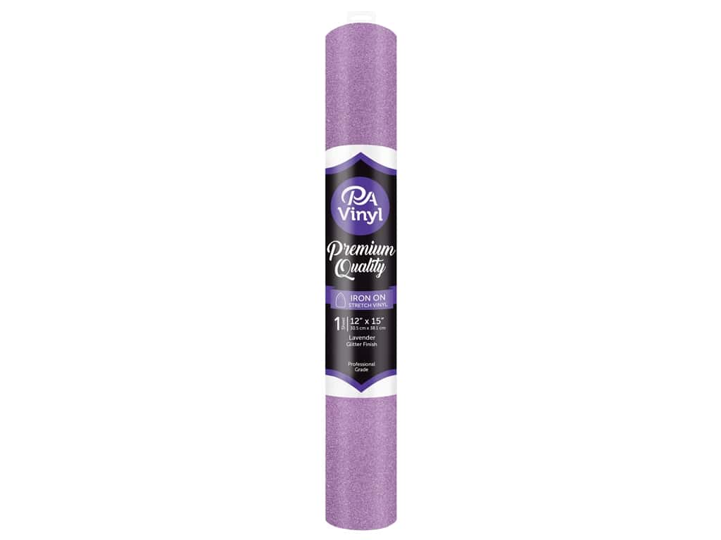 PA Vinyl Iron On 12 in. x 15 in. Roll Stretch Glitter Lavender