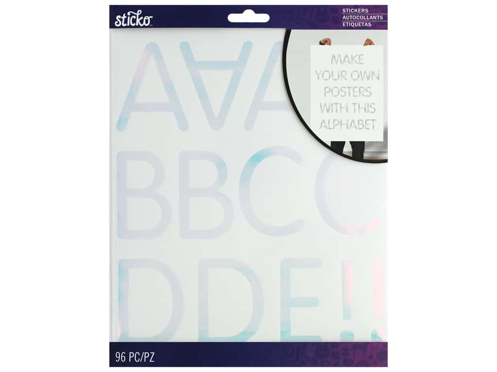 EK Sticko Stickers ABC XL Rounded Thin Iridescent Silver