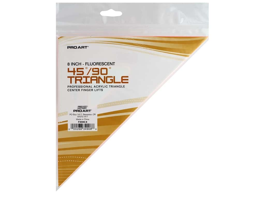 Pro Art Drafting Triangle 8 in. With Finger Lift 45/90 Fluorescent