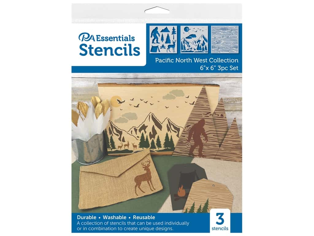 """PA Essentials Stencil 6""""x 6"""" Pacific North West Collection 3pc"""