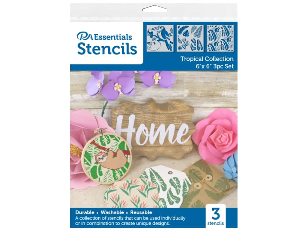 PA Essentials Stencil 6 in. x 6 in. Tropical Collection 3 pc