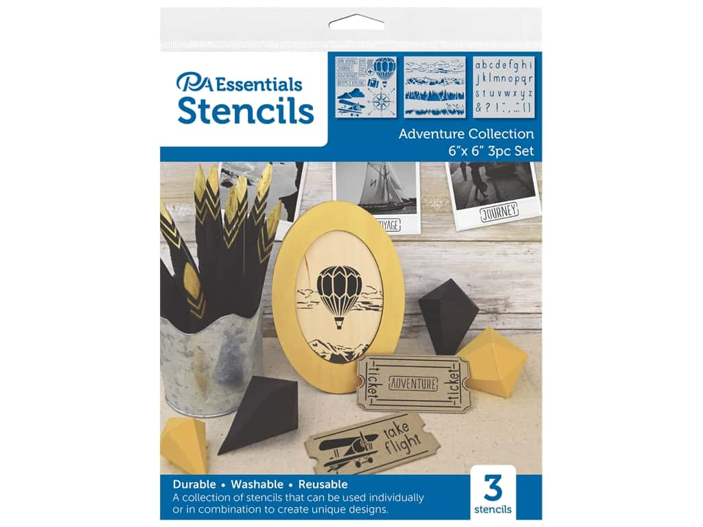 PA Essentials Stencil 6 in. x 6 in. Adventure Collection 3 pc