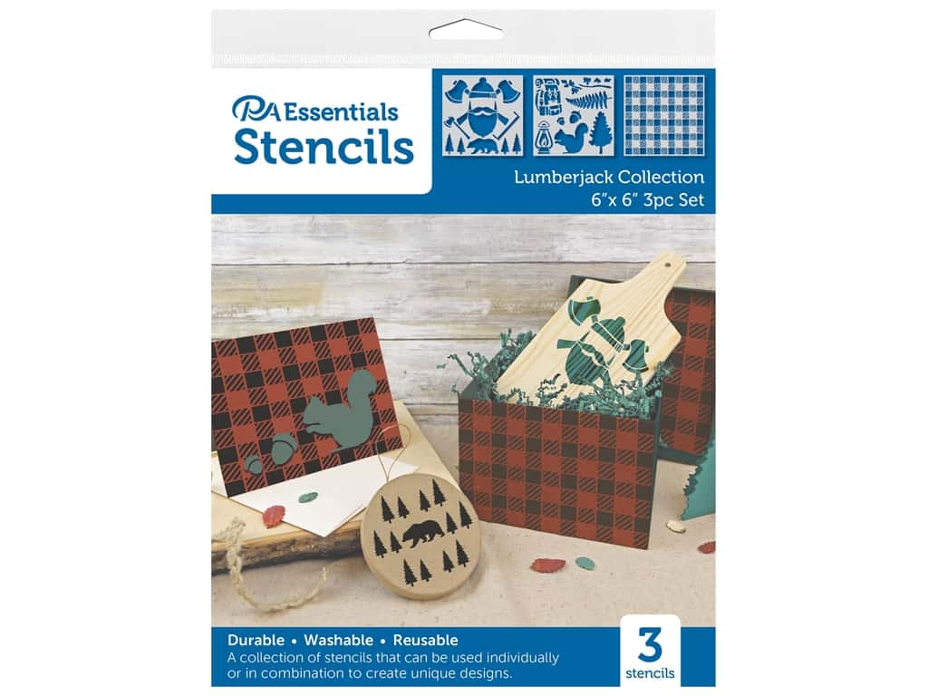 PA Essentials Stencil 6 in. x 6 in. Lumberjack Collection 3 pc