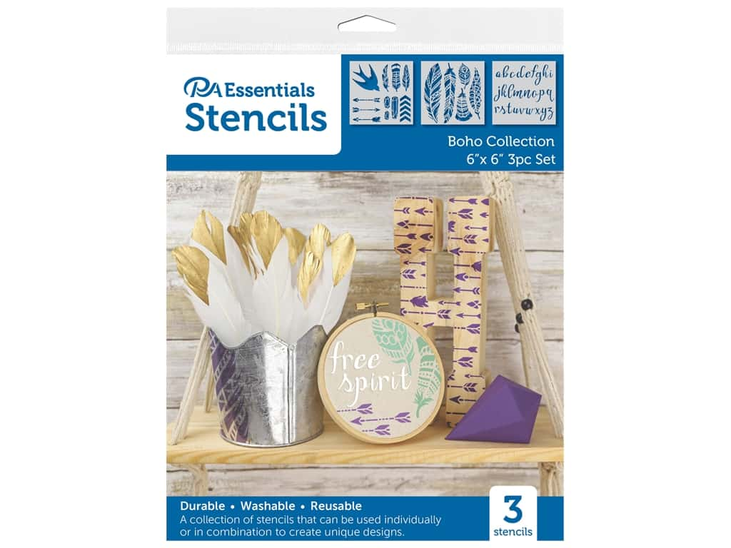 PA Essentials Stencil 6 in. x 6 in. Boho Collection 3 pc