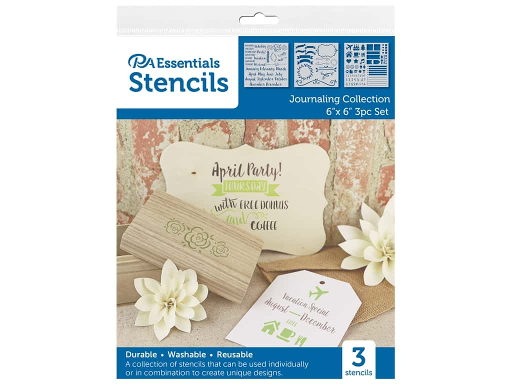 PA Essentials Stencil 6 in. x 6 in. Journaling Collection 3 pc