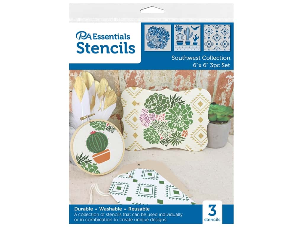 PA Essentials Stencil 6 in. x 6 in. Southwest Collection 3 pc