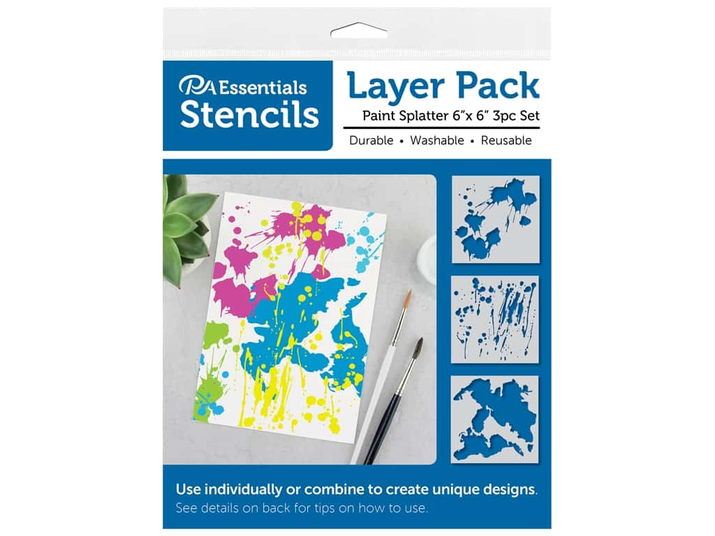 PA Essentials Stencil 6 in. x 6 in. Layer Pack Paint Splatter 3 pc