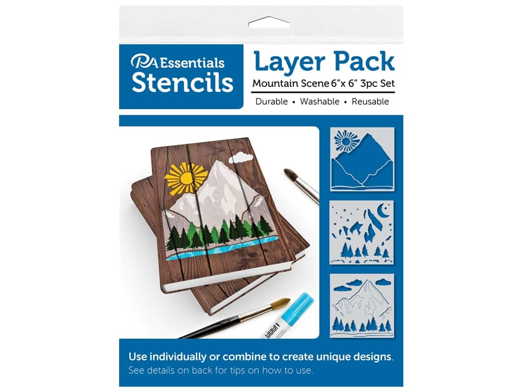 PA Essentials Stencil 6 in. x 6 in. Layer Pack Mountain Scene 3pc