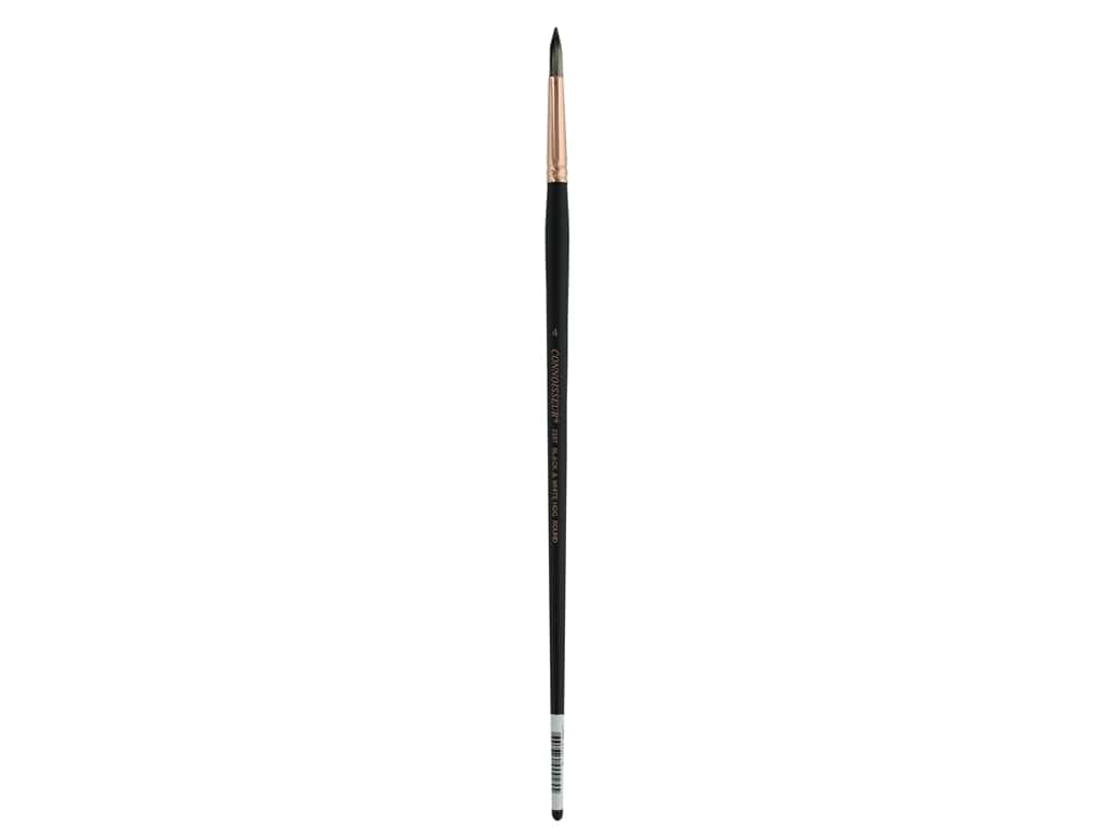 Connoisseur Black & White Hog Bristle Brush Long Handle Round #4