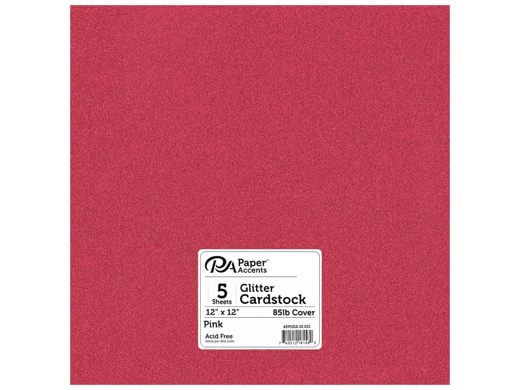 Paper Accents Glitter Cardstock 12 x 12 in. #G01 Pink 15 pc.