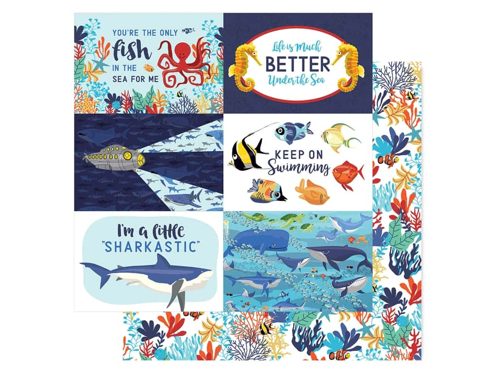 "Carta Bella Fish Are Friends Paper 12""x 12"" Journal Cards 4""x 6"" (25 pieces)"