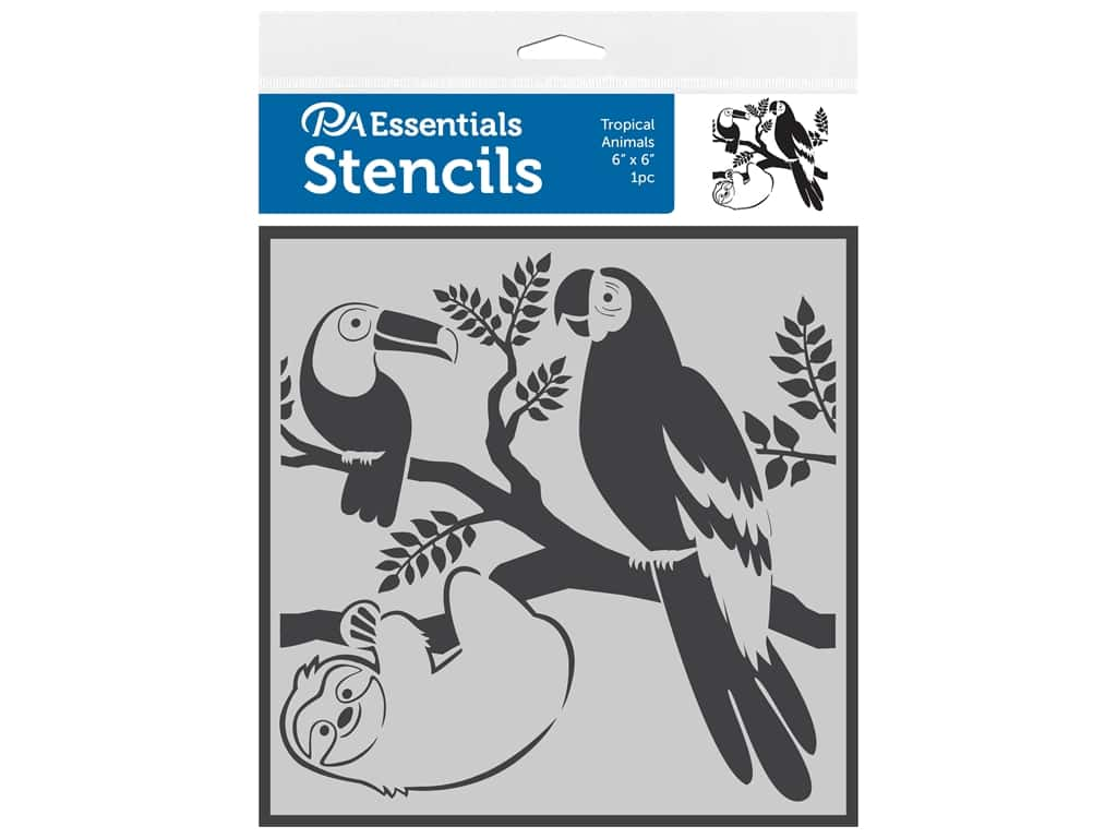 PA Essentials Stencil 6 in. x 6 in. Tropical Animals