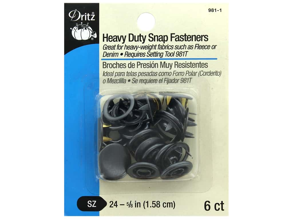 Dritz Snap Heavy Duty Size 24 Black 6 pc