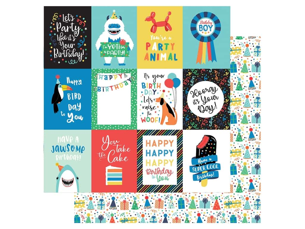 Echo Park Its Your Birthday Boy Collection Paper 12 in. x 12 in. Journaling Cards 3 in. x 4 in. (25 pieces)