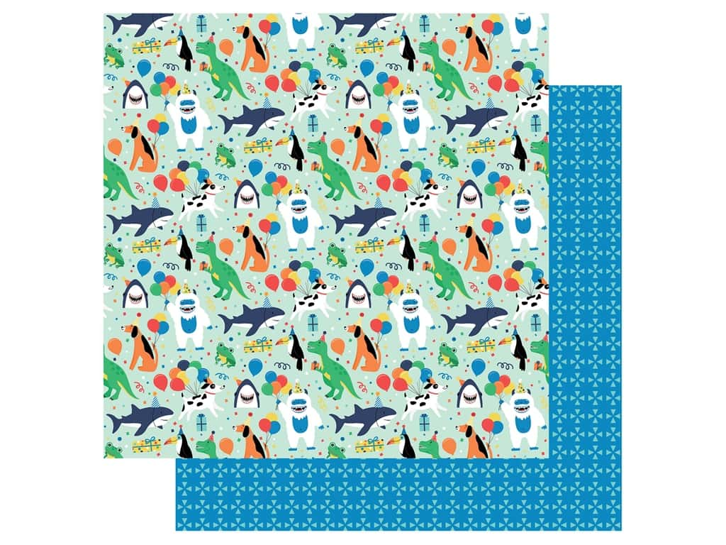 Echo Park Its Your Birthday Boy Collection Paper 12 in. x 12 in. Party Animals (25 pieces)