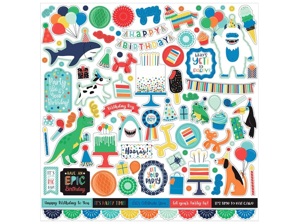 Echo Park Its Your Birthday Boy Collection Sticker 12 in. x 12 in. Elements (15 pieces)