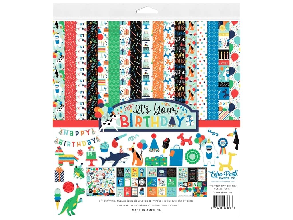 Echo Park Its Your Birthday Boy Collection Collection Kit 12 in. x 12 in.