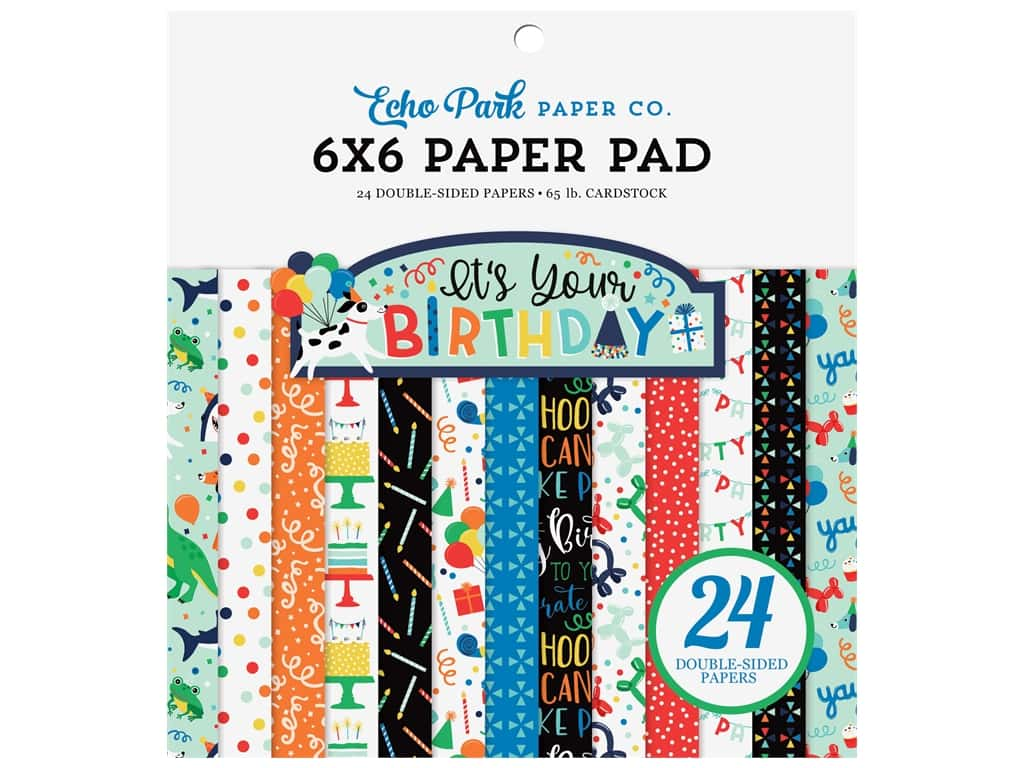 Echo Park Its Your Birthday Boy Collection Paper Pad 6 in. x 6 in.