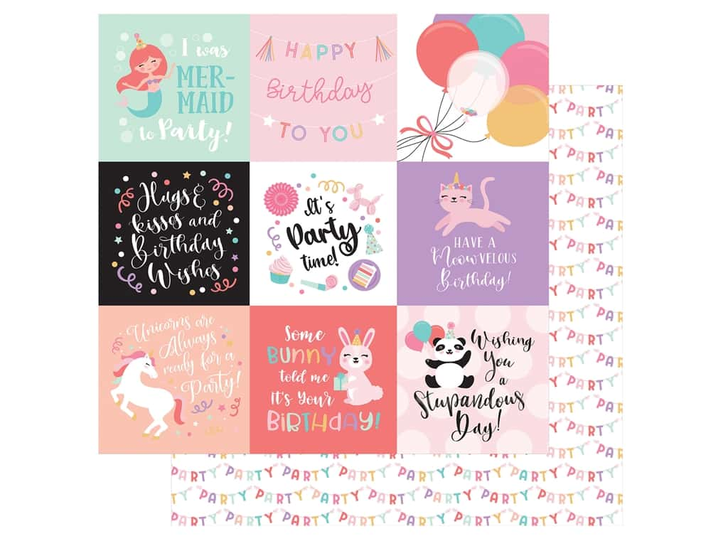 Echo Park Its Your Birthday Girl Collection Paper 12 in. x 12 in. Journaling Cards 4 in. x 4 in. (25 pieces)
