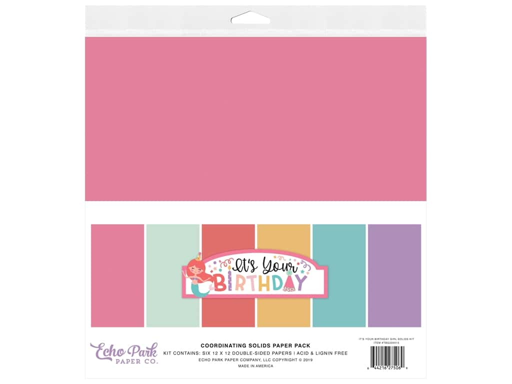 Echo Park Its Your Birthday Girl Collection Solids Kit 12 in. x 12 in.