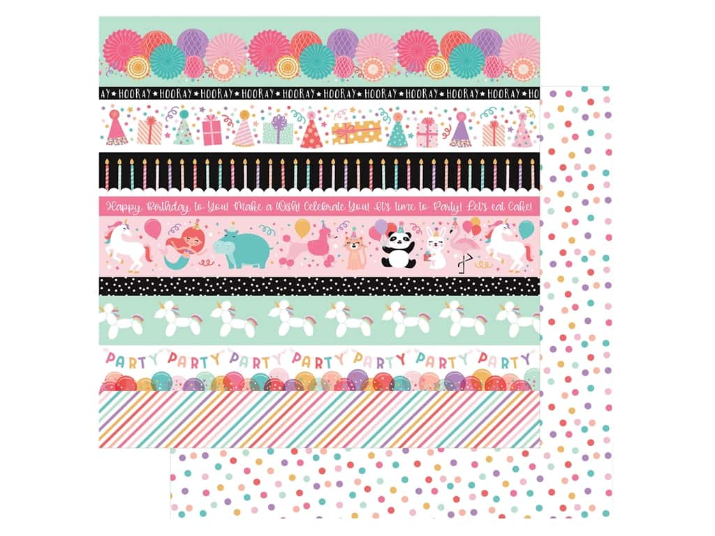 Echo Park Its Your Birthday Girl Collection Paper 12 in. x 12 in. Border Strips (25 pieces)