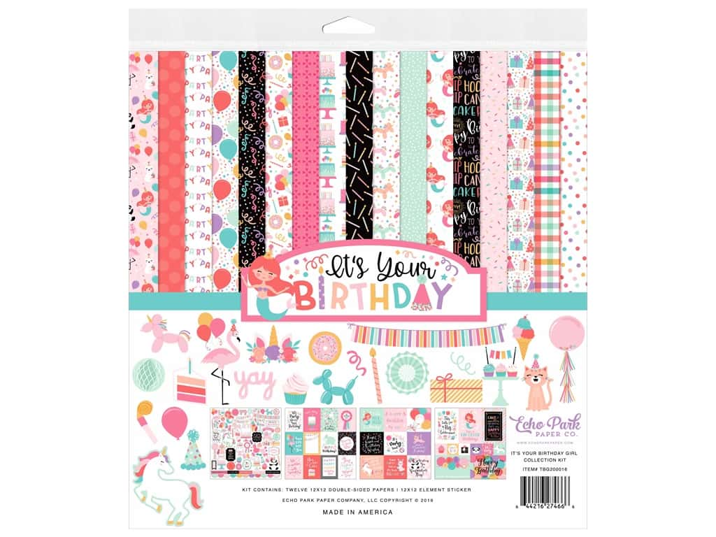 Echo Park Its Your Birthday Girl Collection Collection Kit 12 in. x 12 in.