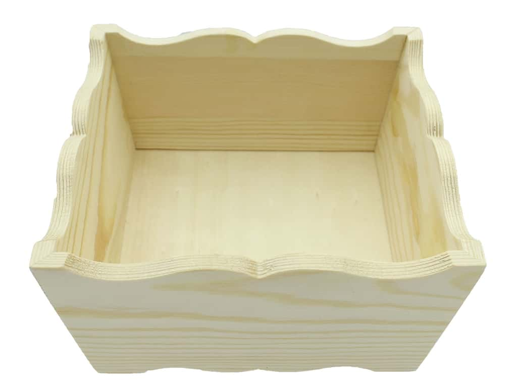 """Sierra Pacific Crafts Wood Tray Square With Scalloped Edge 6""""x 3""""x 6"""" Unfinished"""