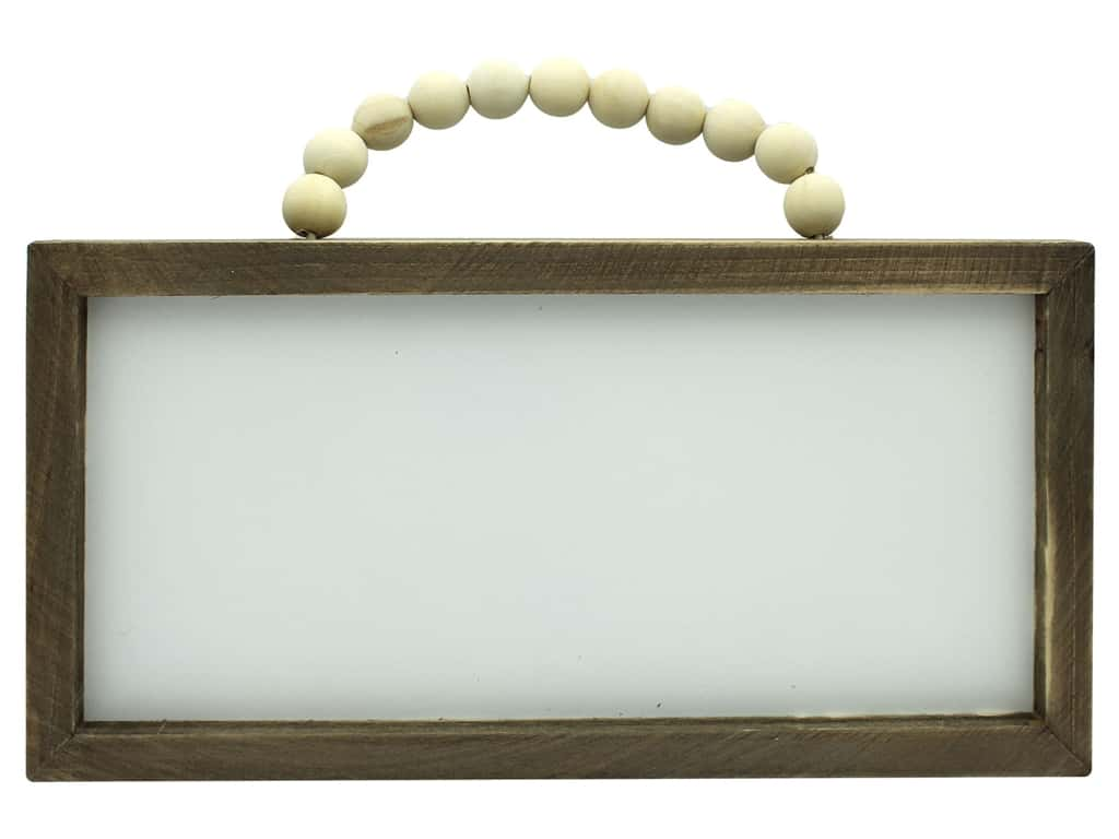 """Sierra Pacific Crafts Wood Wall Art With Bead Handle 11.75""""x 6"""" White/Brown"""