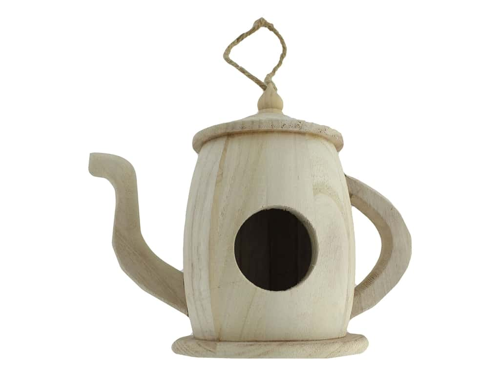 Sierra Pacific Crafts Wood Birdhouse Teapot Unfinished