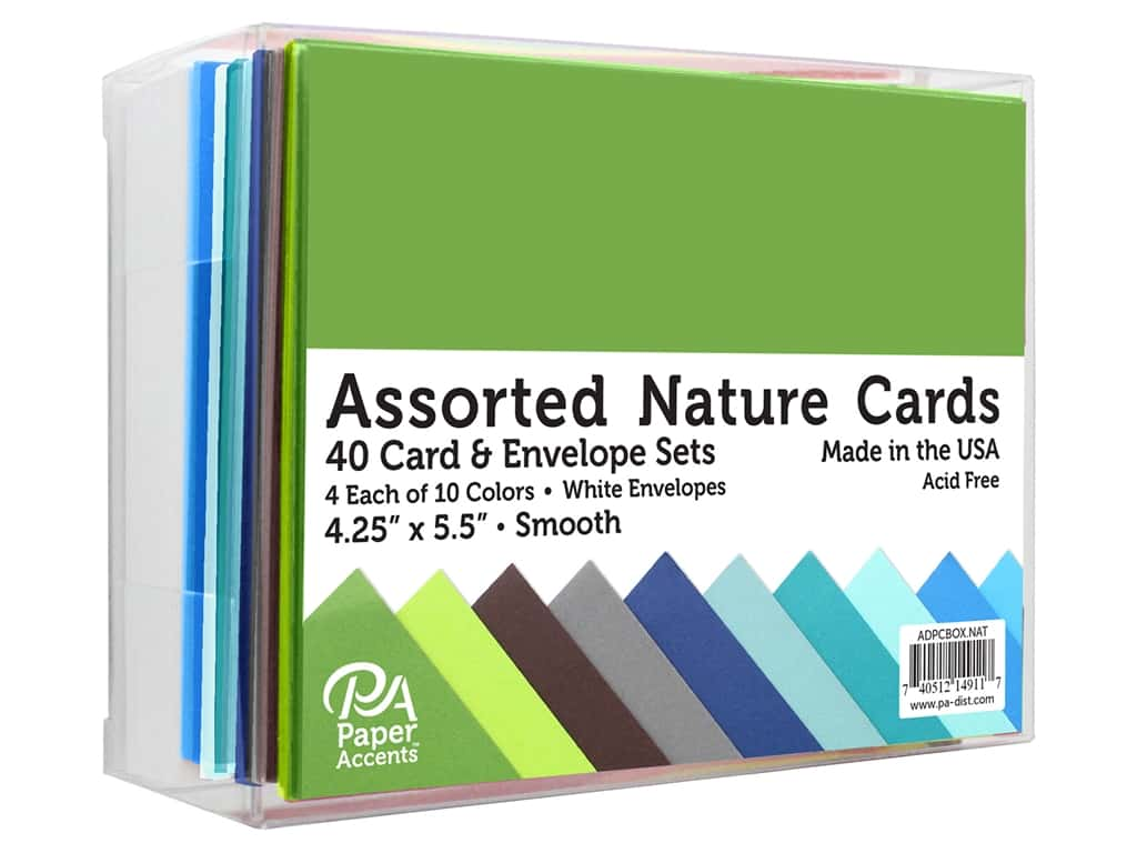 Paper Accents Card & Envelopes 4.25 in. x 5.5 in. Smooth Nature Assorted 40pc