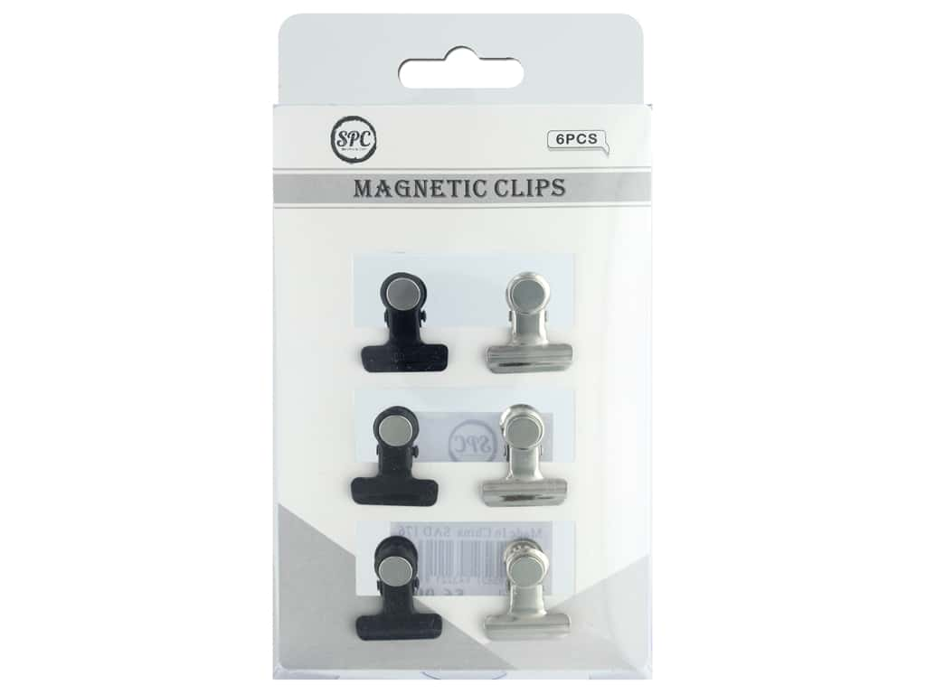 """Sierra Pacific Crafts Storage Magnetic Clips 1"""" Silver/Black 6pc"""
