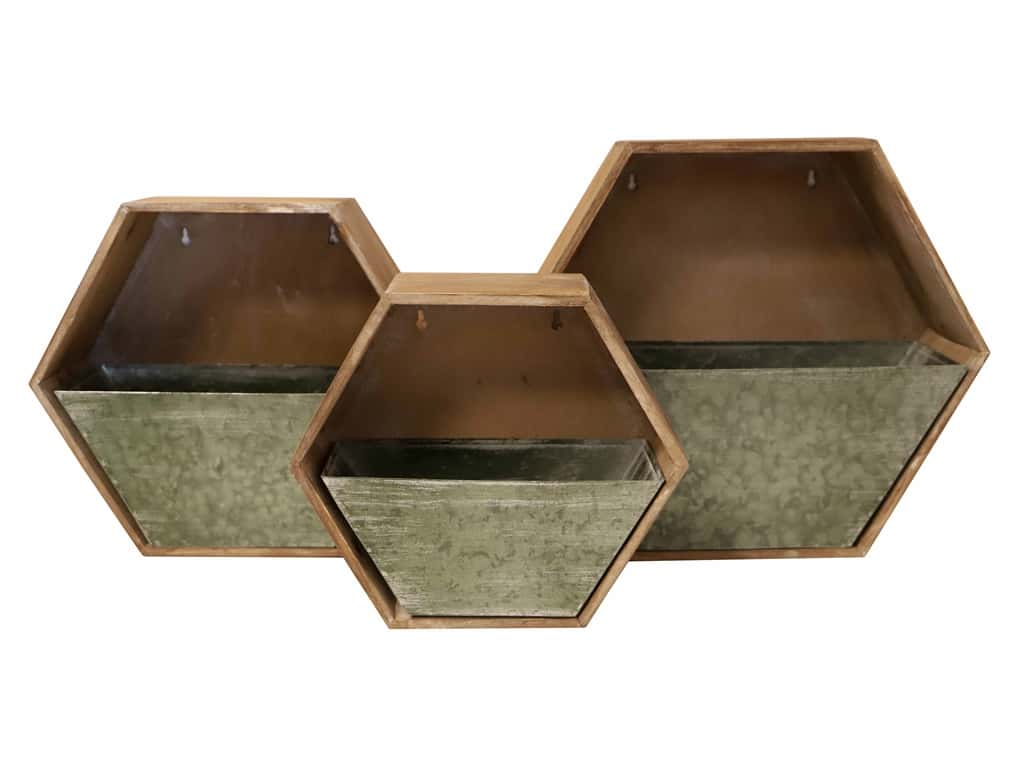 Sierra Pacific Crafts Wood Wall Pocket With Metal Drawers Octagon Set/3 Brown
