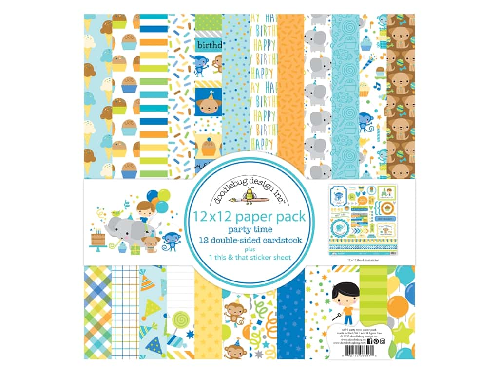 "Doodlebug Party Time Paper Pack 12""x 12"""