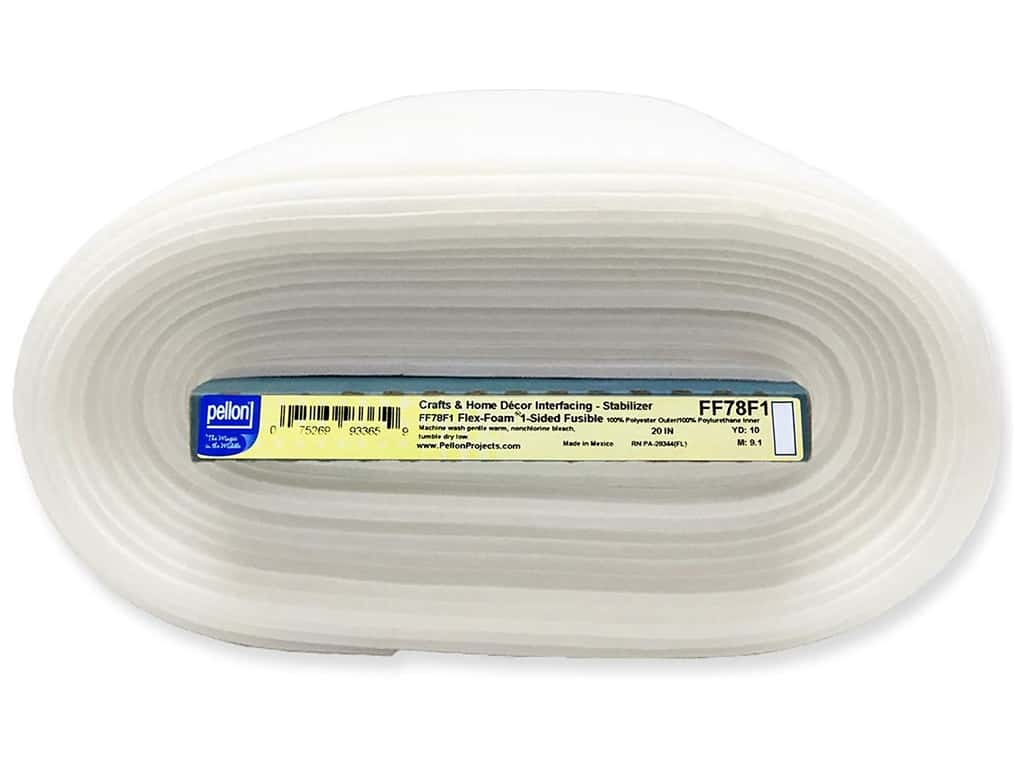 Pellon Stabilizer Flex Foam 1 Sided Fusible 20 in. x 10 yd White (10 yards)
