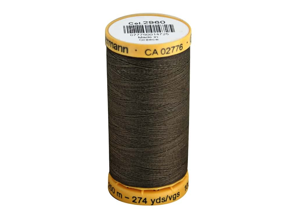Gutermann 100% Natural Cotton Sewing Thread 273 yd. #2960 Dark Brown