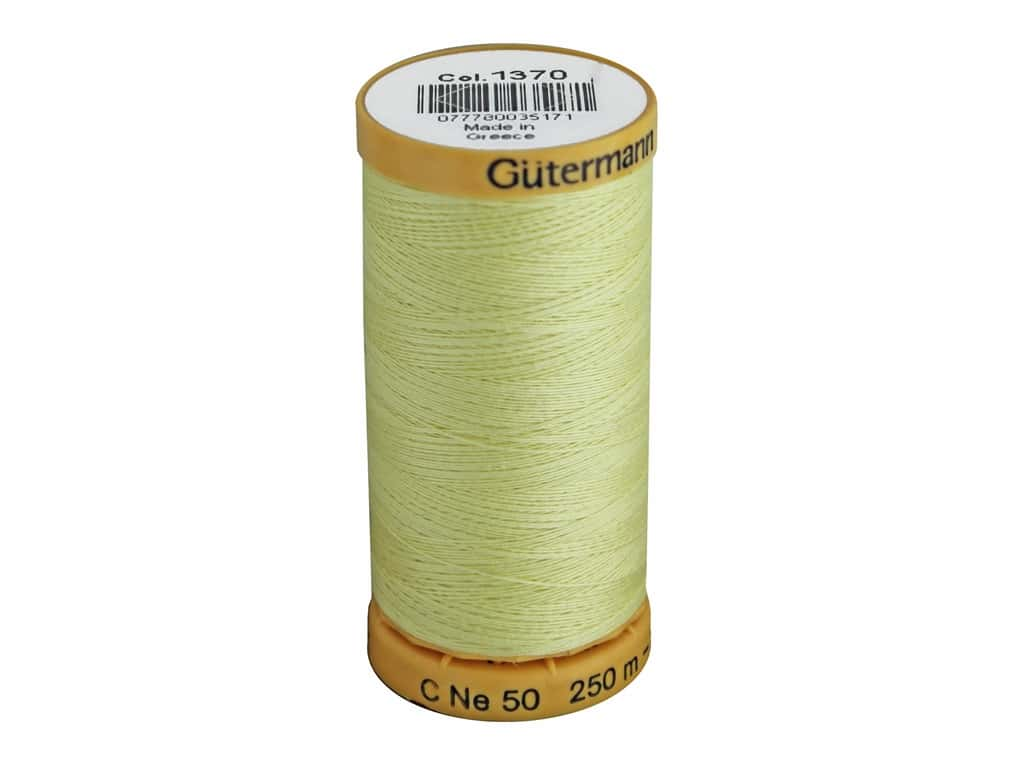 Gutermann 100% Natural Cotton Sewing Thread 273 yd. #1370 Light Yellow