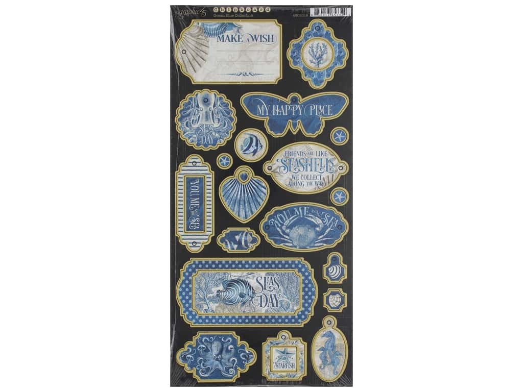 Graphic 45 Collection Ocean Blue Chipboard