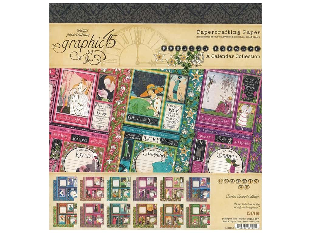 Graphic 45 Collection Fashion Forward Paper Pad 8 in. x 8 in.